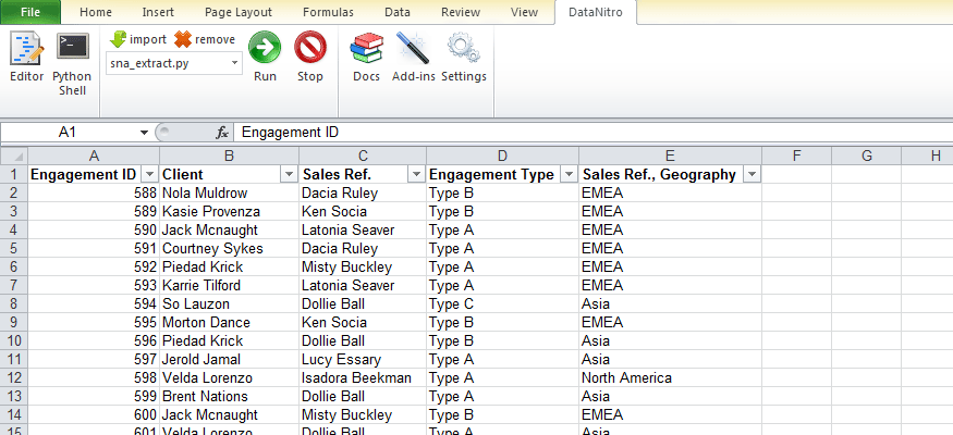 Social network data set up in Excel