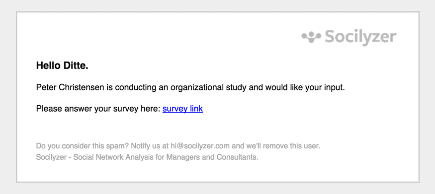 Email accompanying social network analysis survey